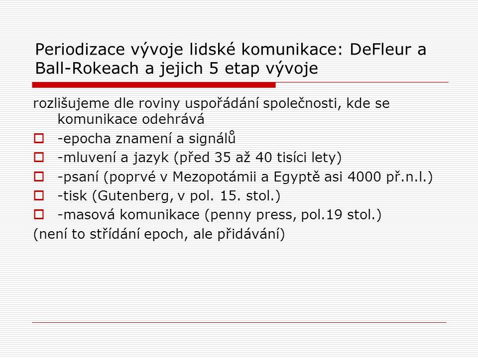 Periodizace vývoje lidské komunikace: DeFleur a Ball-Rokeach a jejich 5 etap vývoje rozlišujeme dle roviny uspořádání společnosti, kde se komunikace odehrává  -epocha znamení a signálů  -mluvení a jazyk (před 35 až 40 tisíci lety)  -psaní (poprvé v Mezopotámii a Egyptě asi 4000 př.n.l.)  -tisk (Gutenberg, v pol.