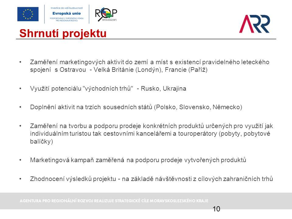 Shrnutí projektu Zaměření marketingových aktivit do zemí a míst s existencí pravidelného leteckého spojení s Ostravou - Velká Británie (Londýn), Franc