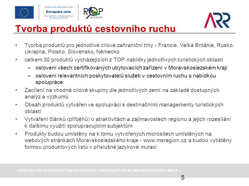 Tvorba produktů cestovního ruchu Tvorba produktů pro jednotlivé cílové zahraniční trhy - Francie, Velká Británie, Rusko, Ukrajina, Polsko, Slovensko,