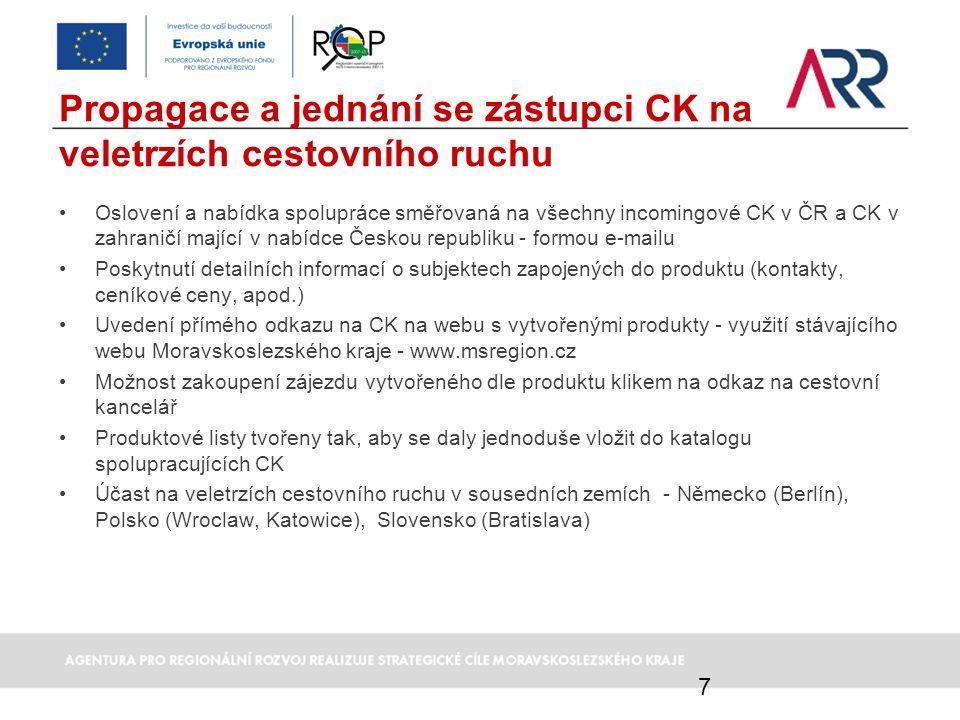 Propagace a jednání se zástupci CK na veletrzích cestovního ruchu Oslovení a nabídka spolupráce směřovaná na všechny incomingové CK v ČR a CK v zahran