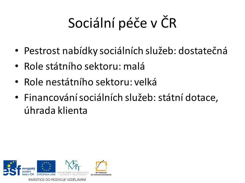 Sociální péče v ČR Pestrost nabídky sociálních služeb: dostatečná Role státního sektoru: malá Role nestátního sektoru: velká Financování sociálních služeb: státní dotace, úhrada klienta