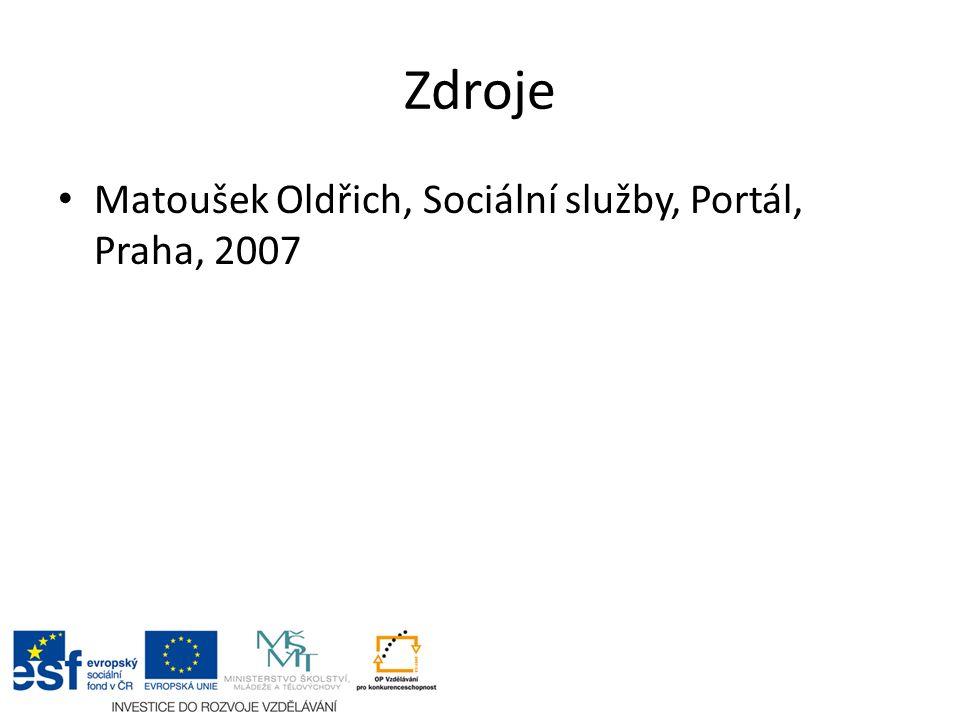 Zdroje Matoušek Oldřich, Sociální služby, Portál, Praha, 2007