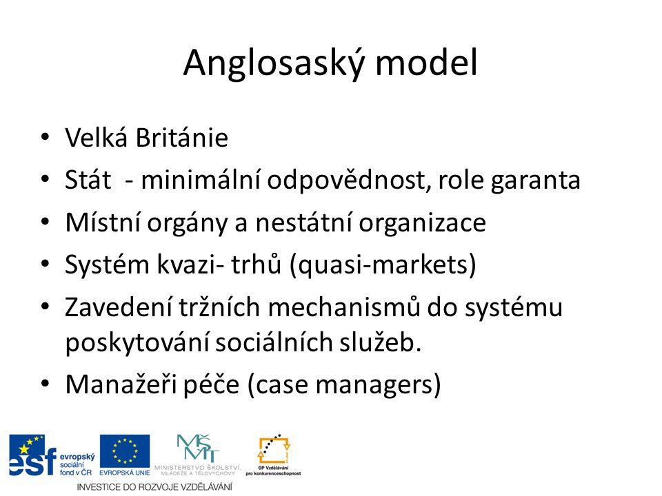 Anglosaský model Velká Británie Stát - minimální odpovědnost, role garanta Místní orgány a nestátní organizace Systém kvazi- trhů (quasi-markets) Zavedení tržních mechanismů do systému poskytování sociálních služeb.