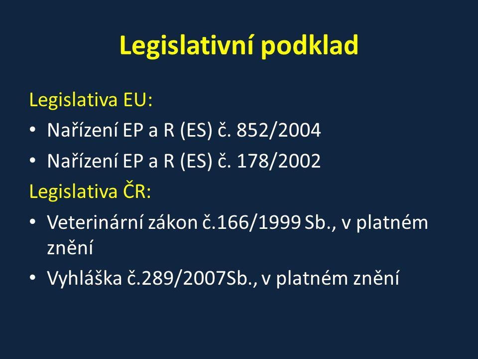 Legislativní podklad Legislativa EU: Nařízení EP a R (ES) č. 852/2004 Nařízení EP a R (ES) č. 178/2002 Legislativa ČR: Veterinární zákon č.166/1999 Sb