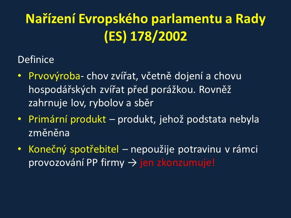 Nařízení Evropského parlamentu a Rady (ES) 178/2002 Definice Prvovýroba- chov zvířat, včetně dojení a chovu hospodářských zvířat před porážkou. Rovněž