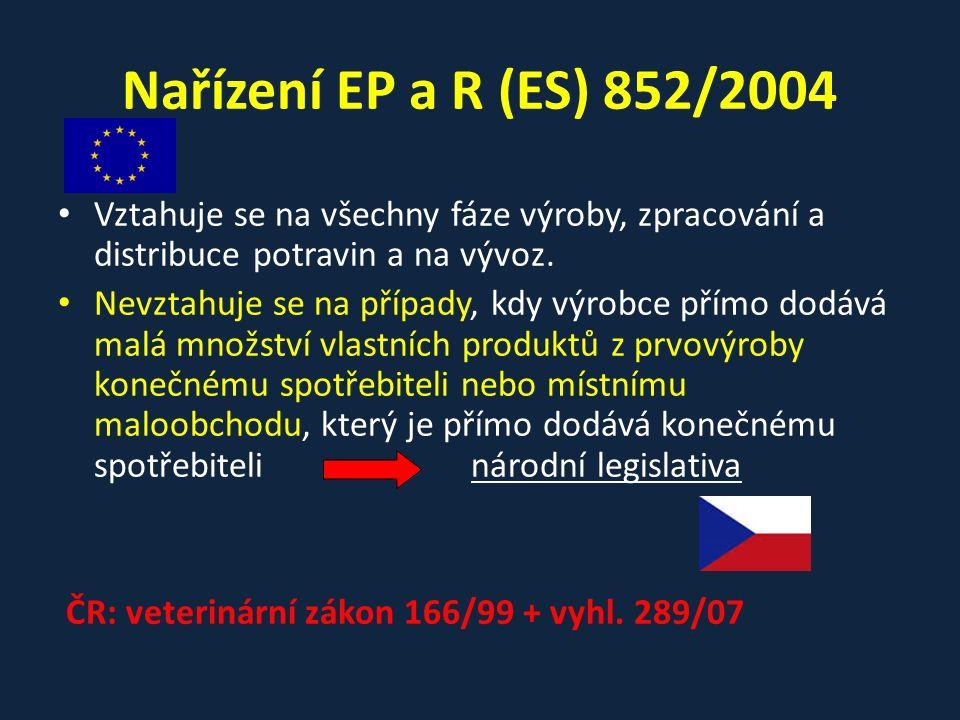 Nařízení EP a R (ES) 852/2004 Vztahuje se na všechny fáze výroby, zpracování a distribuce potravin a na vývoz. Nevztahuje se na případy, kdy výrobce p