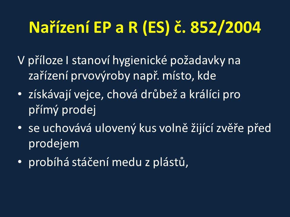 Nařízení EP a R (ES) č. 852/2004 V příloze I stanoví hygienické požadavky na zařízení prvovýroby např. místo, kde získávají vejce, chová drůbež a král