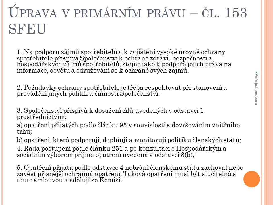 Ú PRAVA V PRIMÁRNÍM PRÁVU – ČL. 153 SFEU 1.