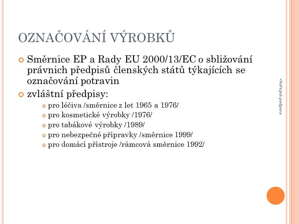 OZNAČOVÁNÍ VÝROBKŮ Směrnice EP a Rady EU 2000/13/EC o sbližování právnich předpisů členských států týkajících se označování potravin zvláštní předpisy: pro léčiva /směrnice z let 1965 a 1976/ pro kosmetické výrobky /1976/ pro tabákové výrobky /1989/ pro nebezpečné přípravky /směrnice 1999/ pro domácí přístroje /rámcová směrnice 1992/  Veřejná podpora