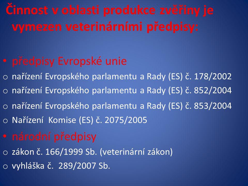 Činnost v oblasti produkce zvěřiny je vymezen veterinárními předpisy: předpisy Evropské unie o nařízení Evropského parlamentu a Rady (ES) č.