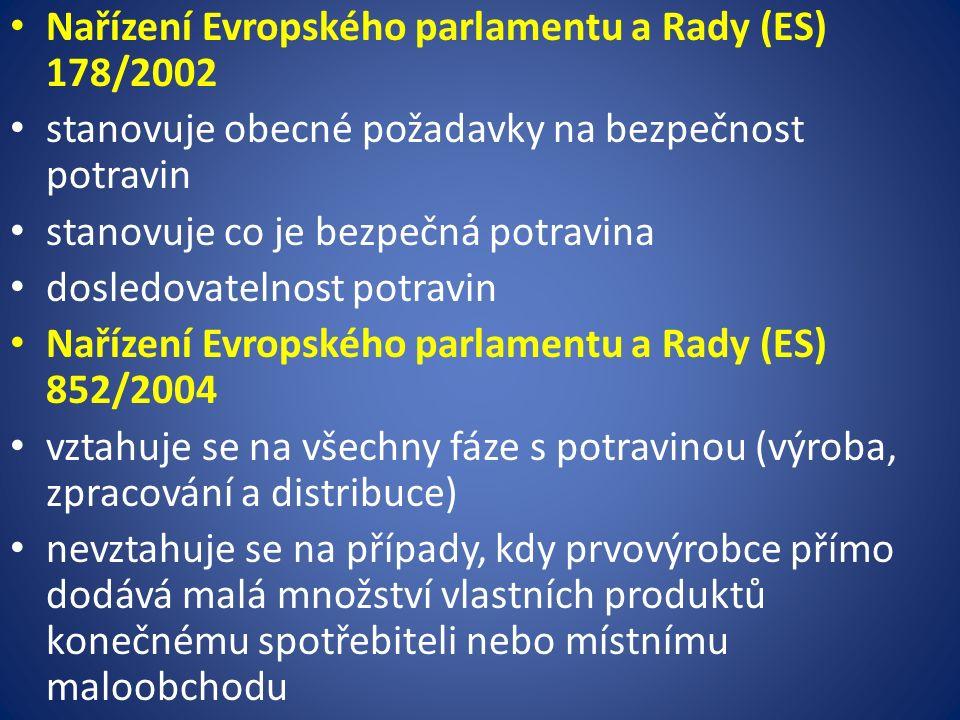 Nařízení Evropského parlamentu a Rady (ES) 178/2002 stanovuje obecné požadavky na bezpečnost potravin stanovuje co je bezpečná potravina dosledovatelnost potravin Nařízení Evropského parlamentu a Rady (ES) 852/2004 vztahuje se na všechny fáze s potravinou (výroba, zpracování a distribuce) nevztahuje se na případy, kdy prvovýrobce přímo dodává malá množství vlastních produktů konečnému spotřebiteli nebo místnímu maloobchodu