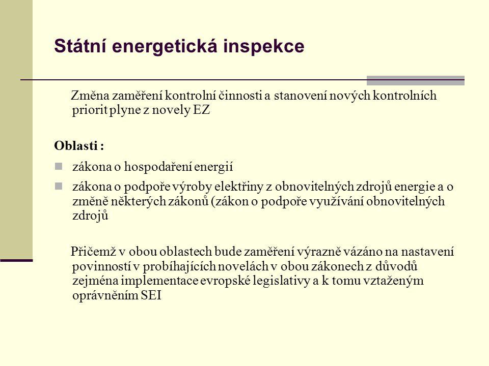 Státní energetická inspekce Změna zaměření kontrolní činnosti a stanovení nových kontrolních priorit plyne z novely EZ Oblasti : zákona o hospodaření energií zákona o podpoře výroby elektřiny z obnovitelných zdrojů energie a o změně některých zákonů (zákon o podpoře využívání obnovitelných zdrojů Přičemž v obou oblastech bude zaměření výrazně vázáno na nastavení povinností v probíhajících novelách v obou zákonech z důvodů zejména implementace evropské legislativy a k tomu vztaženým oprávněním SEI