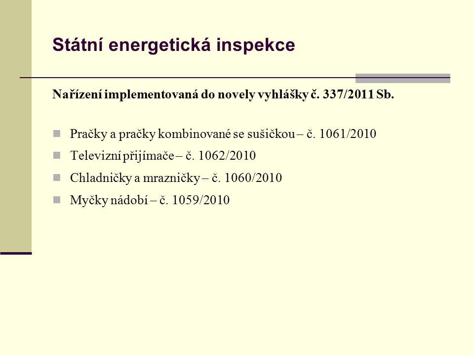 Státní energetická inspekce Nařízení implementovaná do novely vyhlášky č. 337/2011 Sb. Pračky a pračky kombinované se sušičkou – č. 1061/2010 Televizn
