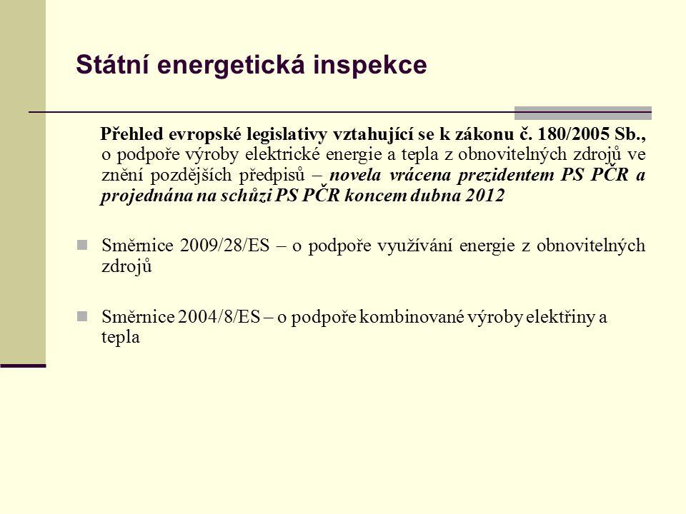 Státní energetická inspekce Přehled evropské legislativy vztahující se k zákonu č. 180/2005 Sb., o podpoře výroby elektrické energie a tepla z obnovit