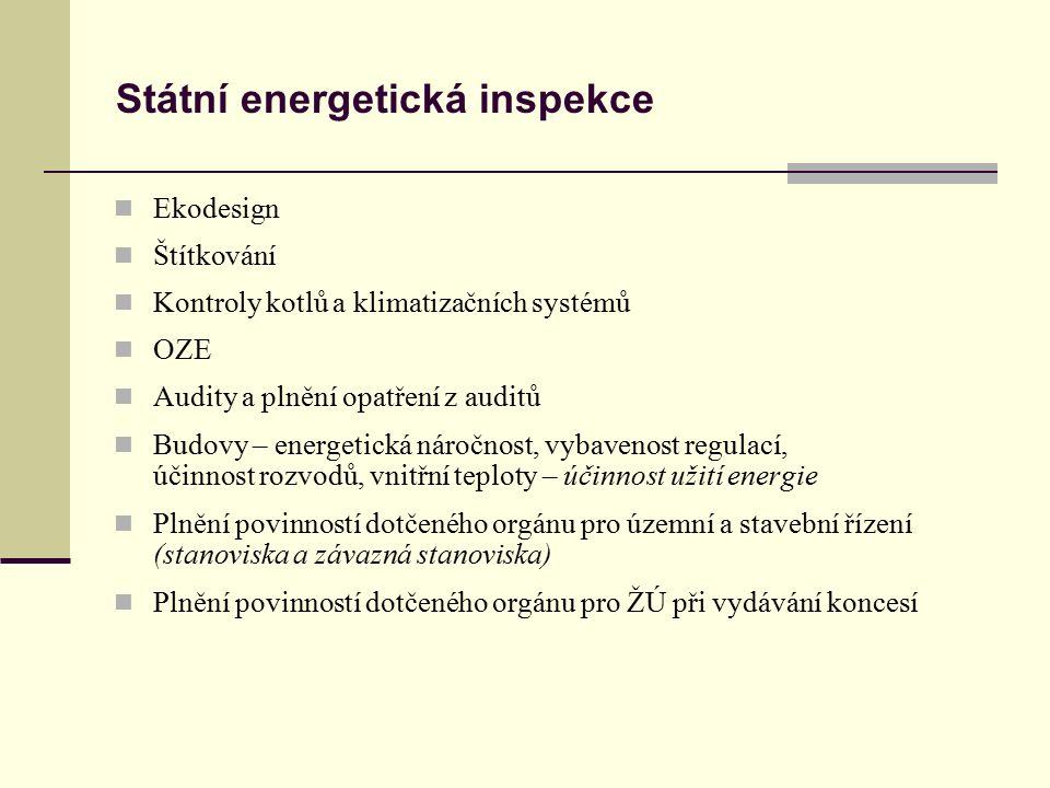 Státní energetická inspekce Ekodesign Štítkování Kontroly kotlů a klimatizačních systémů OZE Audity a plnění opatření z auditů Budovy – energetická ná