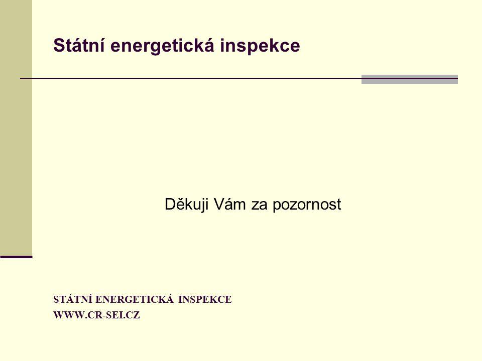 Státní energetická inspekce Děkuji Vám za pozornost STÁTNÍ ENERGETICKÁ INSPEKCE WWW.CR-SEI.CZ