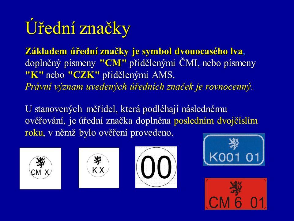 Úřední značky Základem úřední značky je symbol dvouocasého lva, doplněný písmeny CM přidělenými ČMI, nebo písmeny K nebo CZK přidělenými AMS.