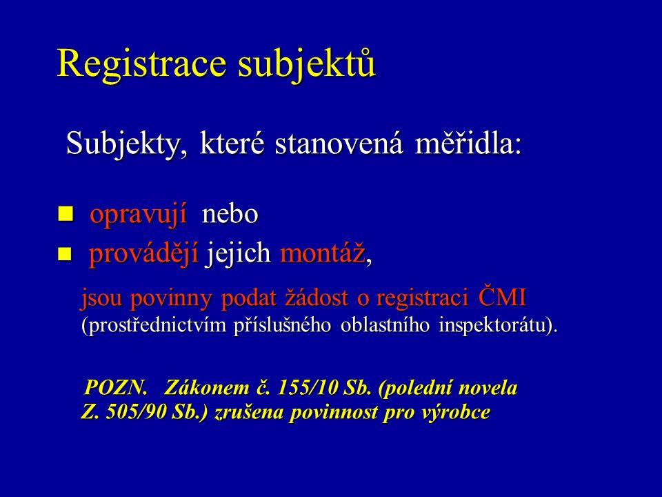 Registrace subjektů Subjekty, které stanovená měřidla: Subjekty, které stanovená měřidla: opravují nebo opravují nebo provádějí jejich montáž, provádějí jejich montáž, jsou povinny podat žádost o registraci ČMI (prostřednictvím příslušného oblastního inspektorátu).