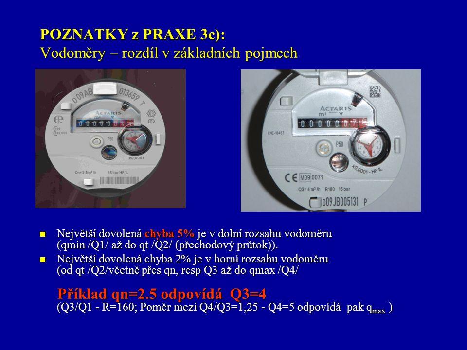 POZNATKY z PRAXE 3c): Vodoměry – rozdíl v základních pojmech Největší dovolená chyba 5% je v dolní rozsahu vodoměru (qmin /Q1/ až do qt /Q2/ (přechodový průtok)).