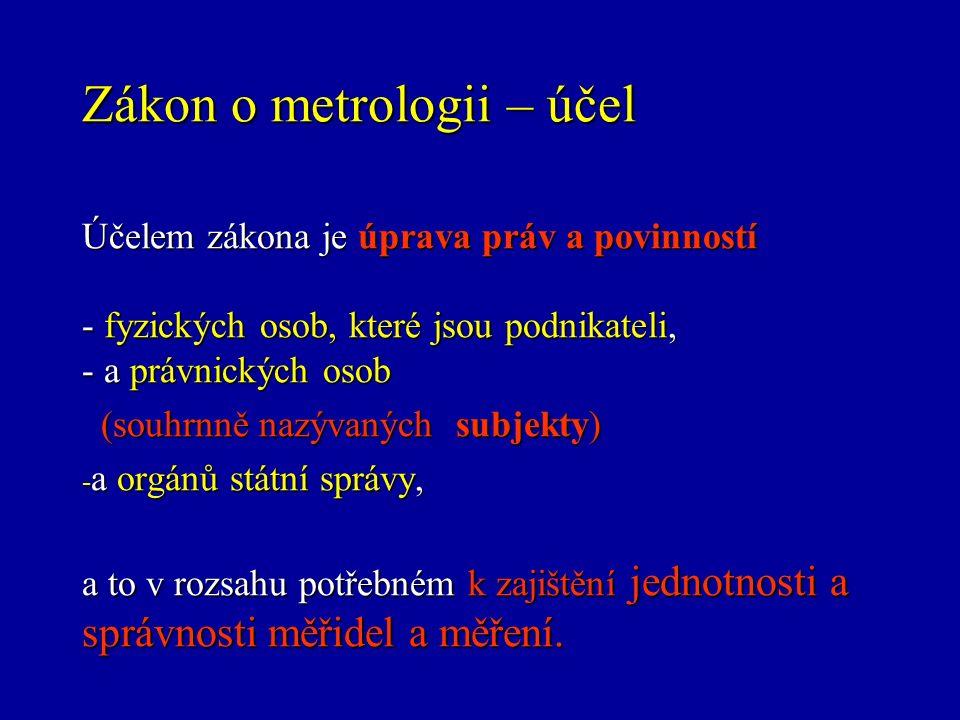 Zákon o metrologii - definice měřidel Měřidla slouží k určení hodnoty měřené veličiny.