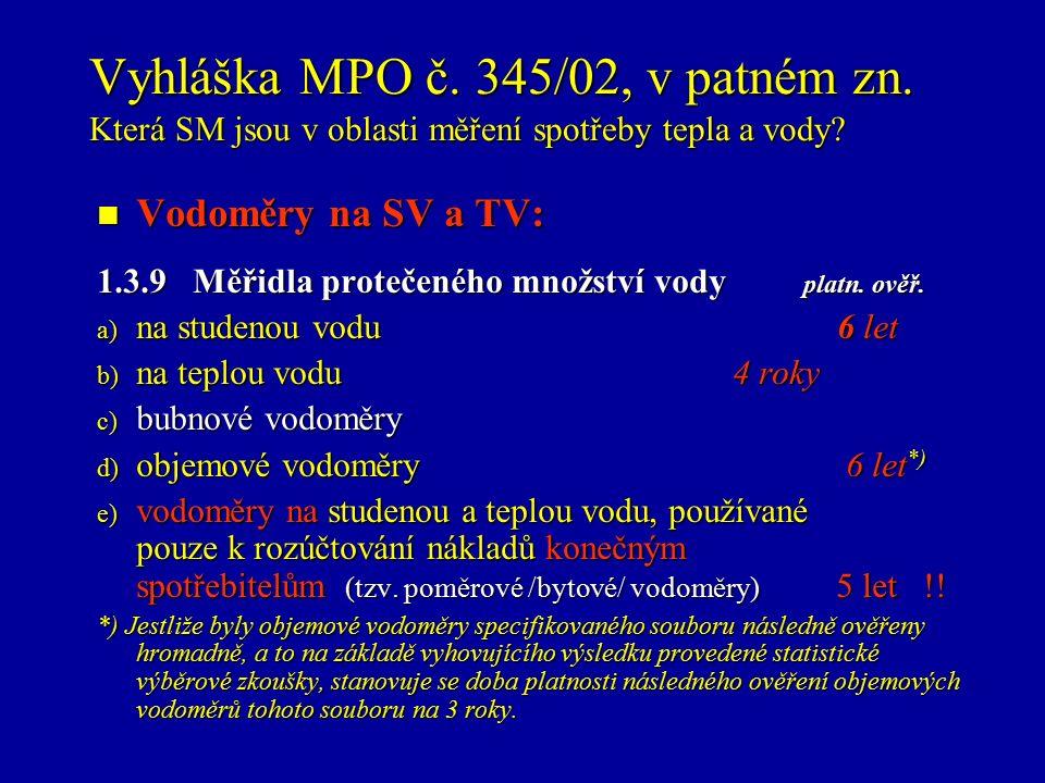 Vyhláška MPO č.345/02, v patném zn. Která SM jsou v oblasti měření spotřeby tepla a vody.