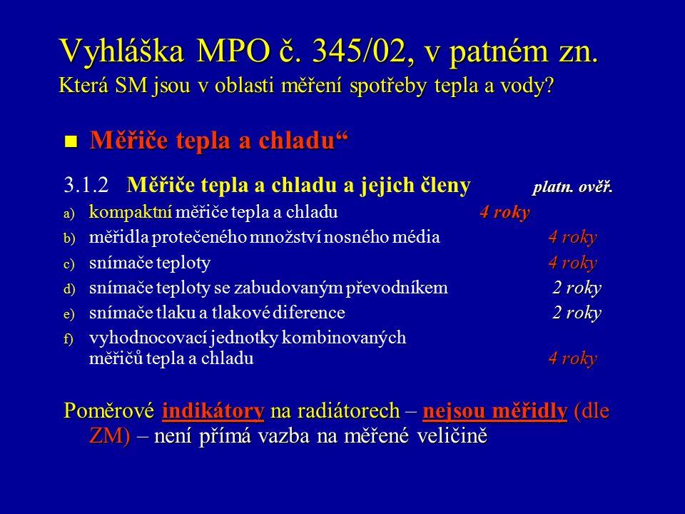Vyhláška MPO č. 345/02, v patném zn. Která SM jsou v oblasti měření spotřeby tepla a vody.