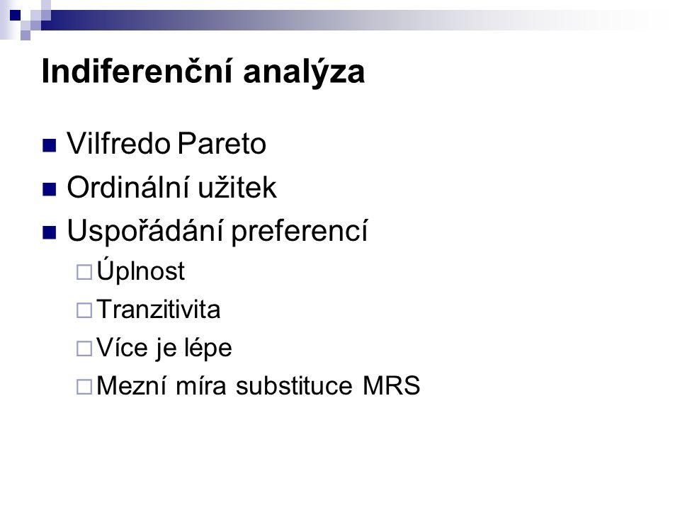 Indiferenční analýza Vilfredo Pareto Ordinální užitek Uspořádání preferencí  Úplnost  Tranzitivita  Více je lépe  Mezní míra substituce MRS