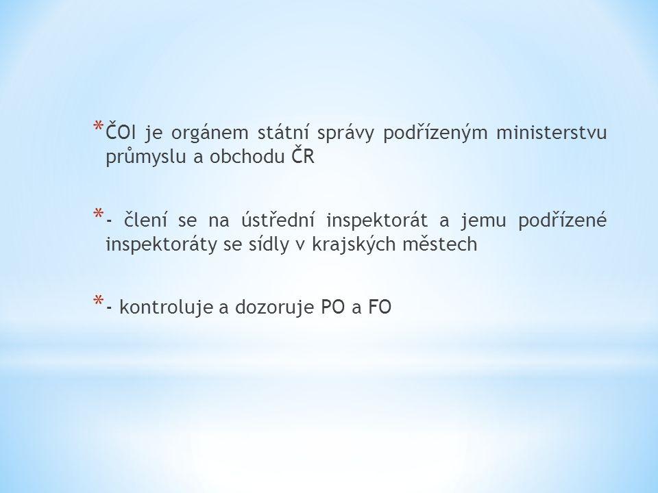 * ČOI je orgánem státní správy podřízeným ministerstvu průmyslu a obchodu ČR * - člení se na ústřední inspektorát a jemu podřízené inspektoráty se sídly v krajských městech * - kontroluje a dozoruje PO a FO