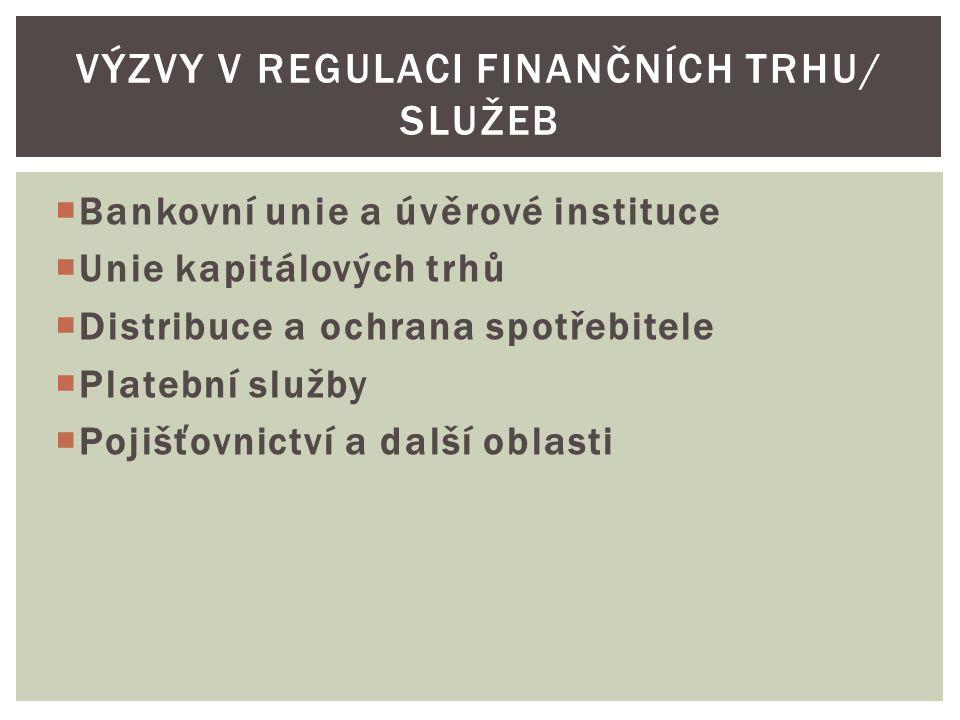 VÝZVY V REGULACI FINANČNÍCH TRHU/ SLUŽEB  Bankovní unie a úvěrové instituce  Unie kapitálových trhů  Distribuce a ochrana spotřebitele  Platební služby  Pojišťovnictví a další oblasti