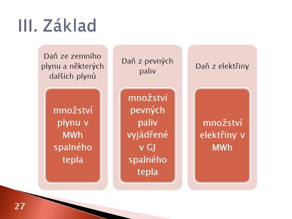 27 Daň ze zemního plynu a některých dalších plynů množství plynu v MWh spalného tepla Daň z pevných paliv množství pevných paliv vyjádřené v GJ spalného tepla Daň z elektřiny množství elektřiny v MWh