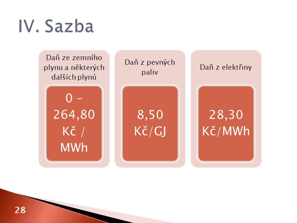 28 Daň ze zemního plynu a některých dalších plynů 0 – 264,80 Kč / MWh Daň z pevných paliv 8,50 Kč/GJ Daň z elektřiny 28,30 Kč/MWh