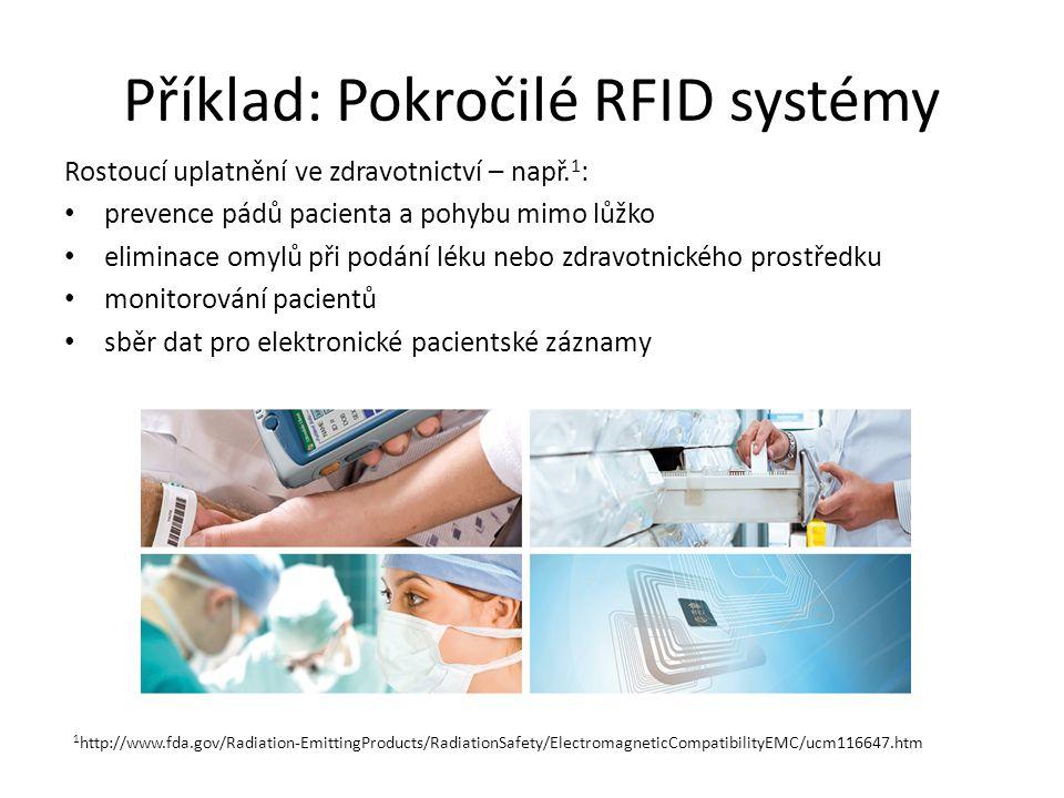 Příklad: Pokročilé RFID systémy Rostoucí uplatnění ve zdravotnictví – např. 1 : prevence pádů pacienta a pohybu mimo lůžko eliminace omylů při podání