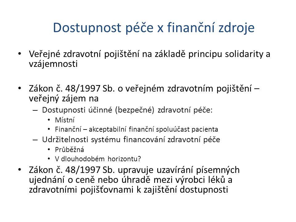 Dostupnost péče x finanční zdroje Veřejné zdravotní pojištění na základě principu solidarity a vzájemnosti Zákon č. 48/1997 Sb. o veřejném zdravotním