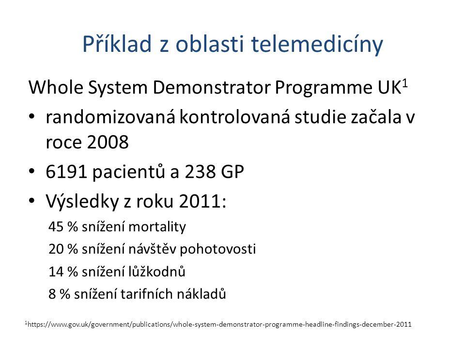 Příklad z oblasti telemedicíny Whole System Demonstrator Programme UK 1 randomizovaná kontrolovaná studie začala v roce 2008 6191 pacientů a 238 GP Vý