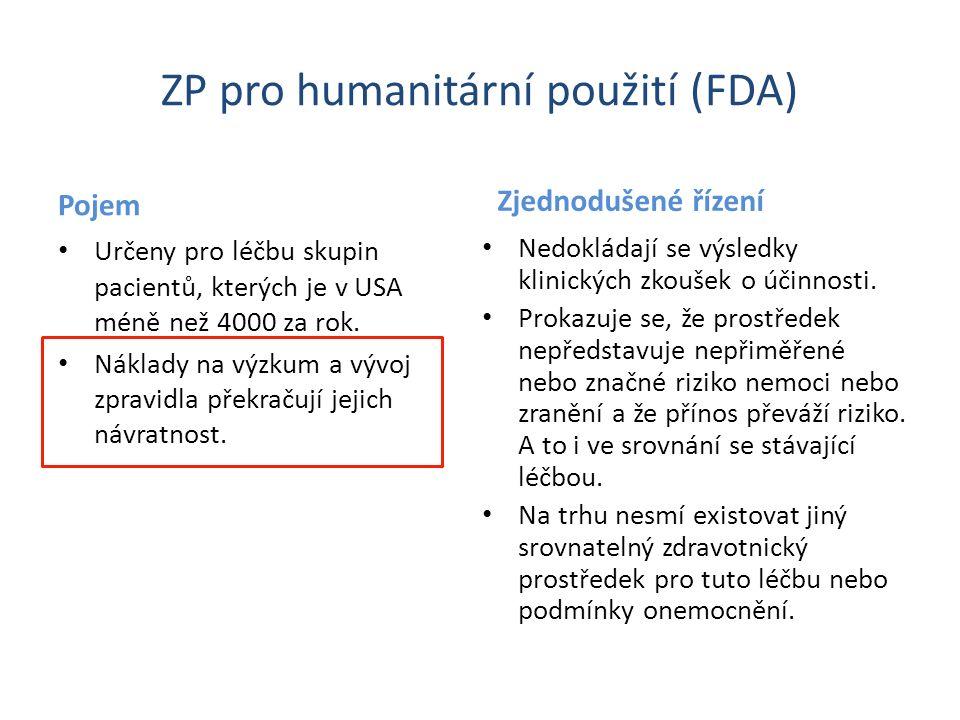 ZP pro humanitární použití (FDA) Pojem Určeny pro léčbu skupin pacientů, kterých je v USA méně než 4000 za rok. Náklady na výzkum a vývoj zpravidla př