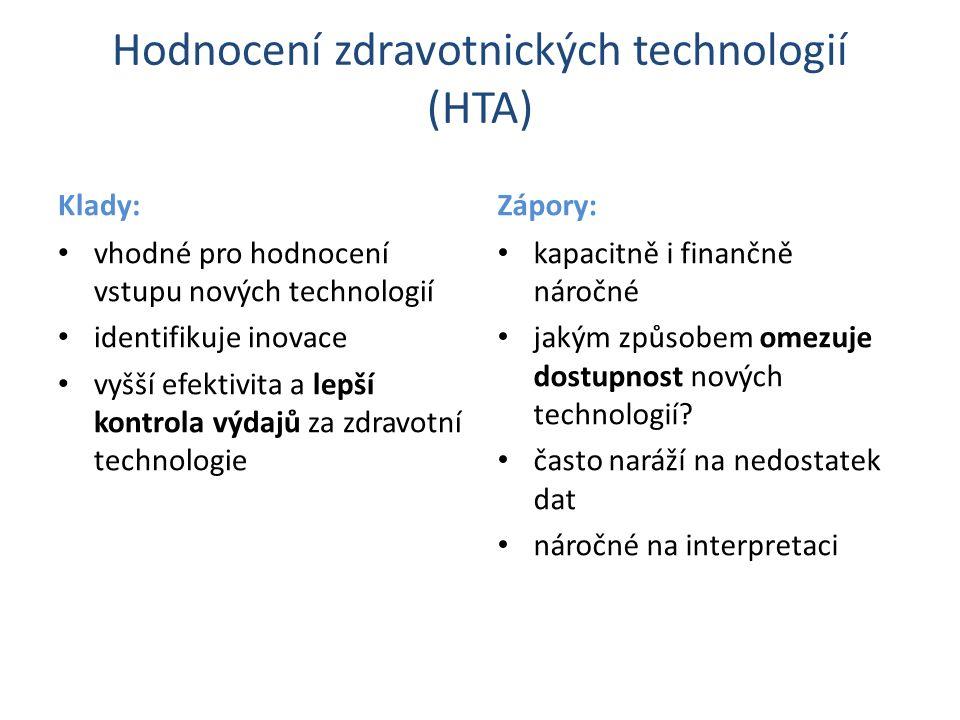 Hodnocení zdravotnických technologií (HTA) Klady: vhodné pro hodnocení vstupu nových technologií identifikuje inovace vyšší efektivita a lepší kontrola výdajů za zdravotní technologie Zápory: kapacitně i finančně náročné jakým způsobem omezuje dostupnost nových technologií.