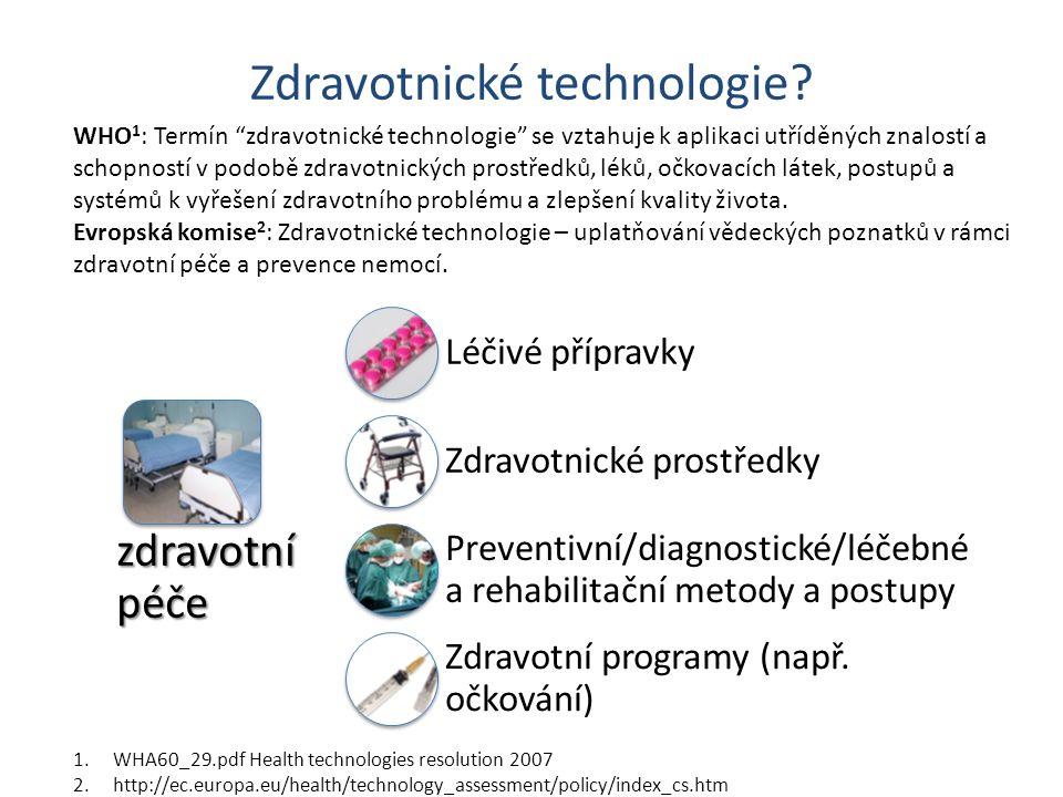 Zdravotnické technologie? zdravotní péče Léčivé přípravky Zdravotnické prostředky Preventivní/diagnostické/léčebné a rehabilitační metody a postupy Zd
