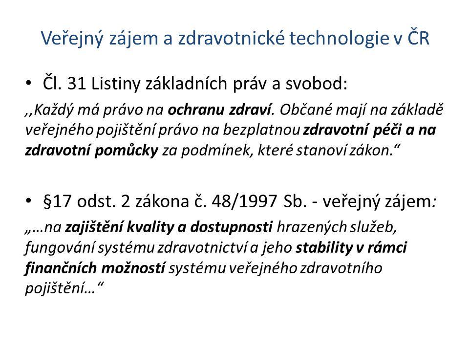 Veřejný zájem a zdravotnické technologie v ČR Čl. 31 Listiny základních práv a svobod:,,Každý má právo na ochranu zdraví. Občané mají na základě veřej