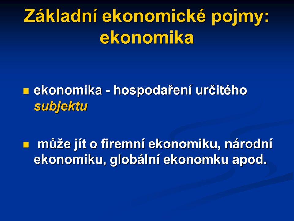 Omezenost zdrojů a statků omezenosti statků a potřebě jsou vystaveny všechny ekonomické subjekty, tj.