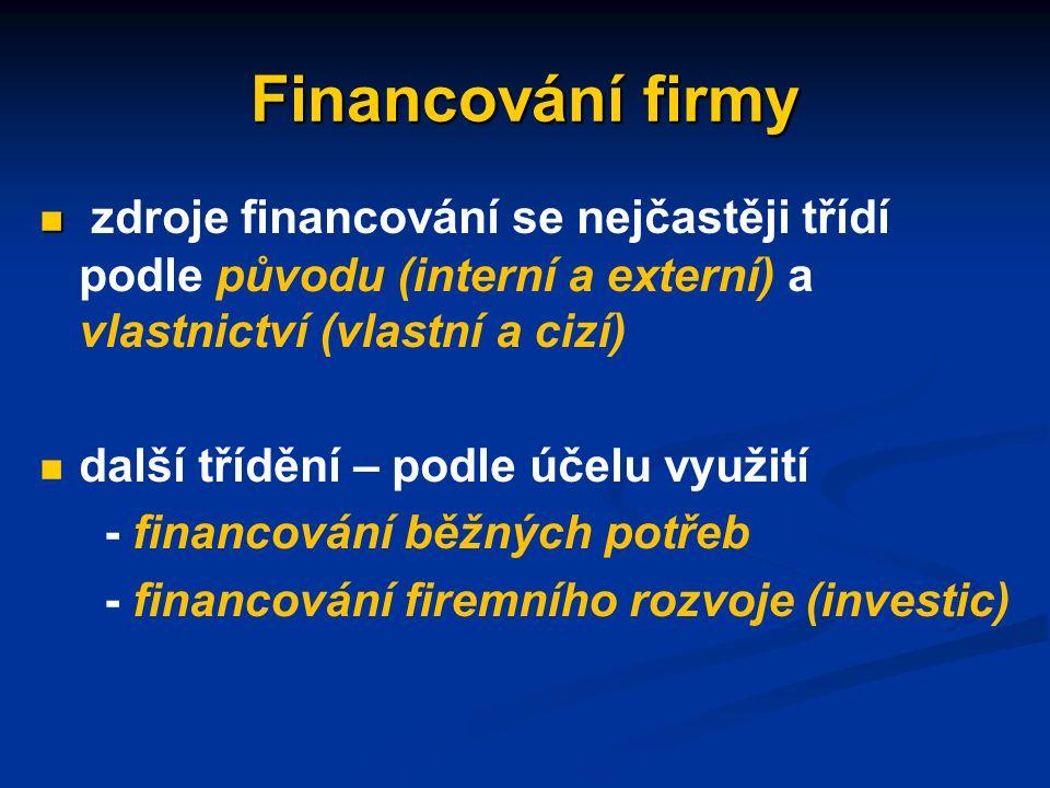 Financování firmy získávání, rozdělování a užití finančních prostředků sloužících k hrazení firemních nákladů na výrobní faktory získávání, rozdělování a užití finančních prostředků sloužících k hrazení firemních nákladů na výrobní faktory