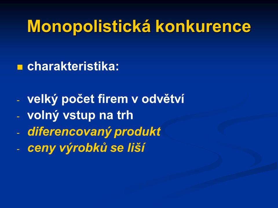 Nedokonalá konkurence situace, kde je narušena jedna či více podmínek dokonalé konkurence formy (na straně nabídky): - monopolistická konkurence - oligopol - monopol