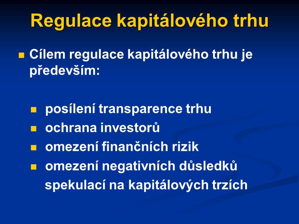 Instituce kapitálového trhu trhy cenných papírů (burzy) – umožňují přímé investování do vybraných firem finanční zprostředkovatelé (banky, investiční fondy, pojišťovny apod.) – zprostředkují investování vložených prostředků