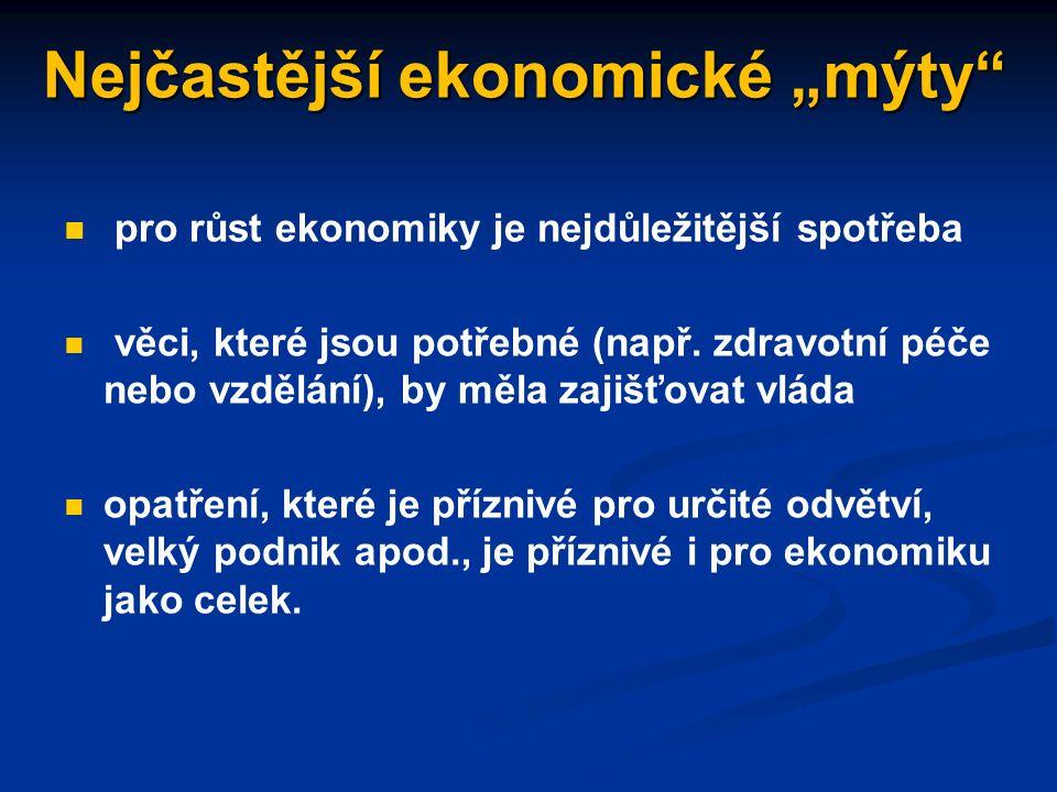 """Chyby v ekonomickém uvažování klam """"post hoc ergo propter hoc nedodržení ceteris paribus - předpokladu neměnnosti ostatních podmínek chyba složení: co platí pro část, platí i pro celek ignorování sekundárních (vedlejších) účinků – příkladem tzv."""