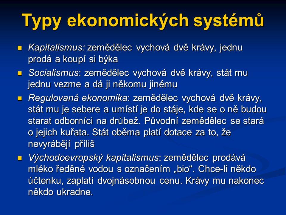 Další typy ekonomických systémů tradiční ekonomika centrálně řízená (příkazová) ekonomika smíšená ekonomika