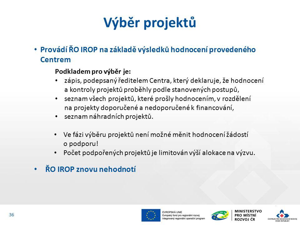 Provádí ŘO IROP na základě výsledků hodnocení provedeného Centrem Podkladem pro výběr je: zápis, podepsaný ředitelem Centra, který deklaruje, že hodnocení a kontroly projektů proběhly podle stanovených postupů, seznam všech projektů, které prošly hodnocením, v rozdělení na projekty doporučené a nedoporučené k financování, seznam náhradních projektů.
