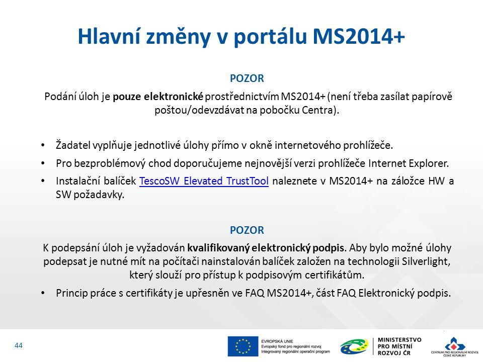 POZOR Podání úloh je pouze elektronické prostřednictvím MS2014+ (není třeba zasílat papírově poštou/odevzdávat na pobočku Centra).
