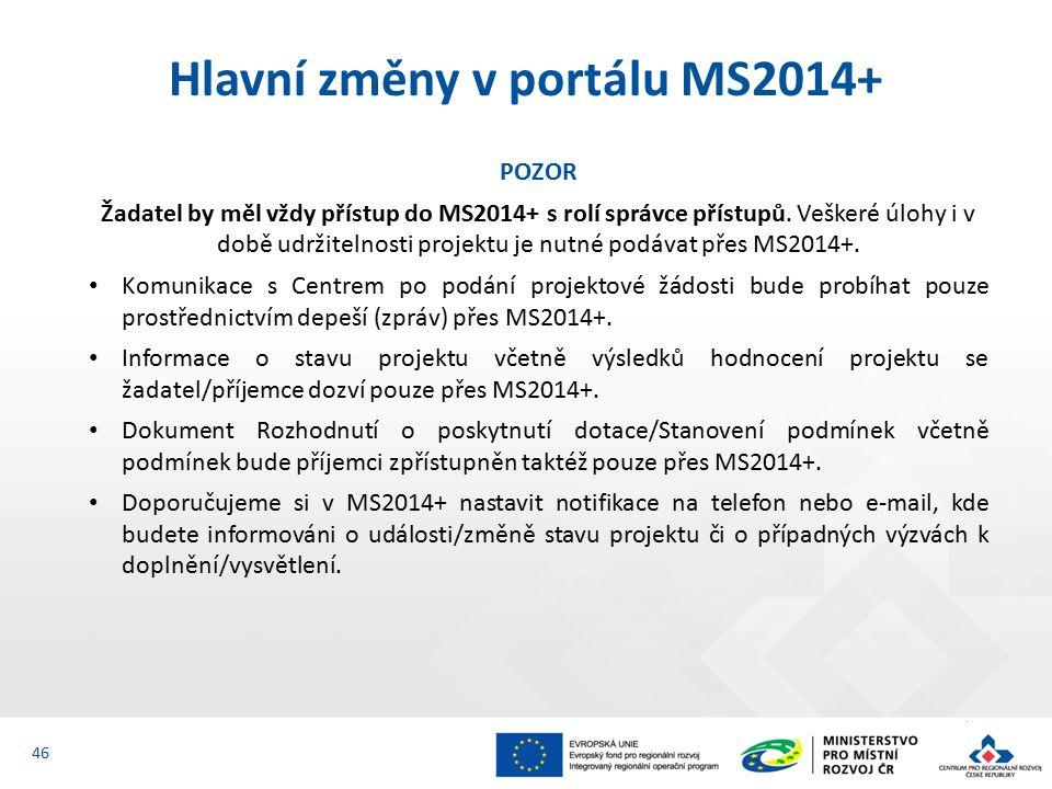 POZOR Žadatel by měl vždy přístup do MS2014+ s rolí správce přístupů.