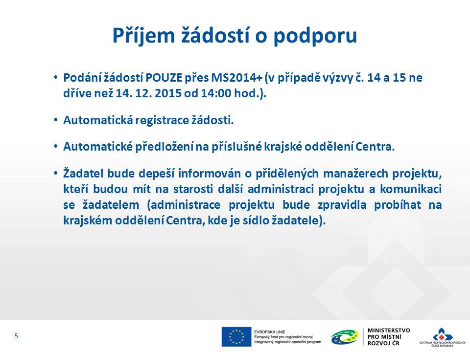 Podání žádostí POUZE přes MS2014+ (v případě výzvy č.