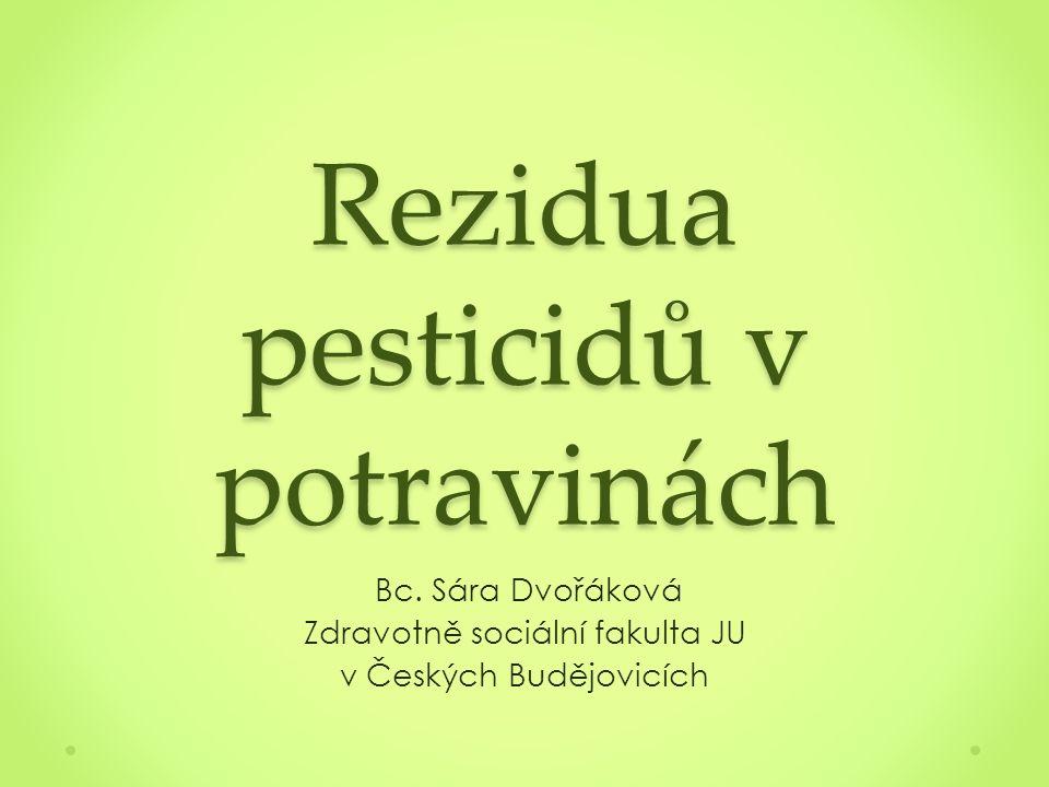 Obsah Úvod Pesticidy Klasifikace pesticidů Rezidua pesticidů Rizika reziduí pesticidů v potravinách pro lidský organismus Průnik reziduí pesticidů do potravního řetězce Monitoring reziduí pesticidů v ČR Maximální limity reziduí Legislativa Víceletý kontrolní plán reziduí pesticidů