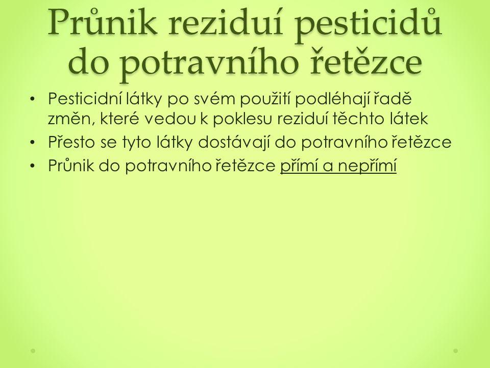 Průnik reziduí pesticidů do potravního řetězce Pesticidní látky po svém použití podléhají řadě změn, které vedou k poklesu reziduí těchto látek Přesto se tyto látky dostávají do potravního řetězce Průnik do potravního řetězce přímí a nepřímí